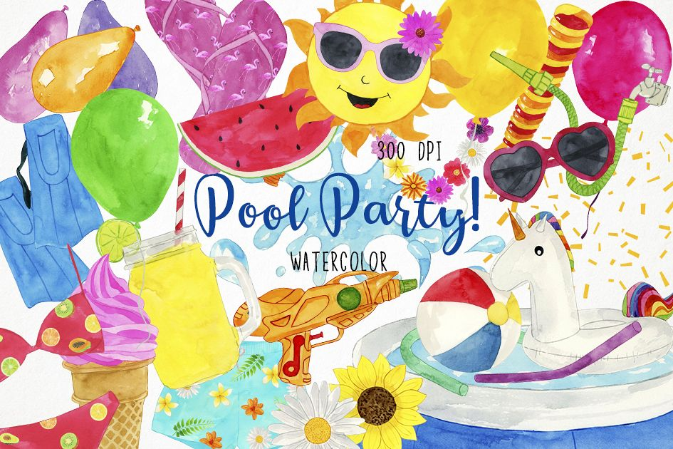 Watercolor Pool Party Clipart, Swim Clipart, Pool Clipart.