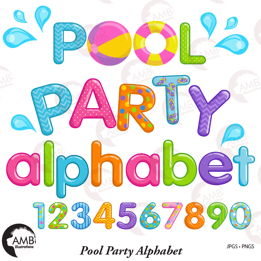 Pool Party alphabet Clipart, , Pool Party numbers, Beach alphabet Birthday  Party Clipart, AMB.
