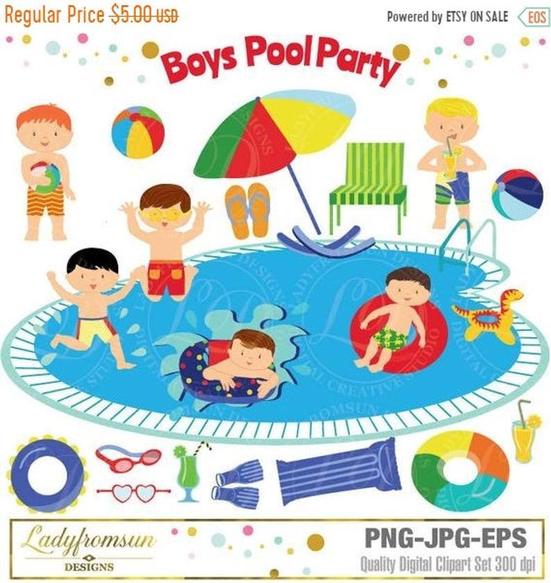 SALE Boys Pool Party Clipart, Pool Party Clip Art, Summer Party, Swimming  Boys, Splash, Summer, Boy pool party, Commercial.
