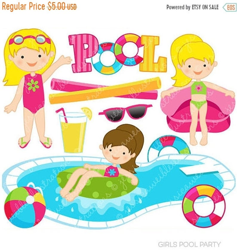 SALE Girls Pool Party Cute Clipart, Pool Party Clip Art, Summer Party,  Swimming Pool Graphics, Swimming Girls, Splash, Summer Swimming Clipa.