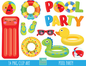 50% SALE pool party clipart, summer clipart, pool graphics.
