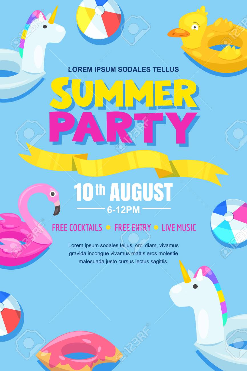 Summer pool party, vector poster, banner layout..