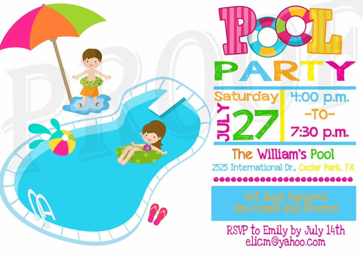 Free clipart for pool party 3 » Clipart Station.