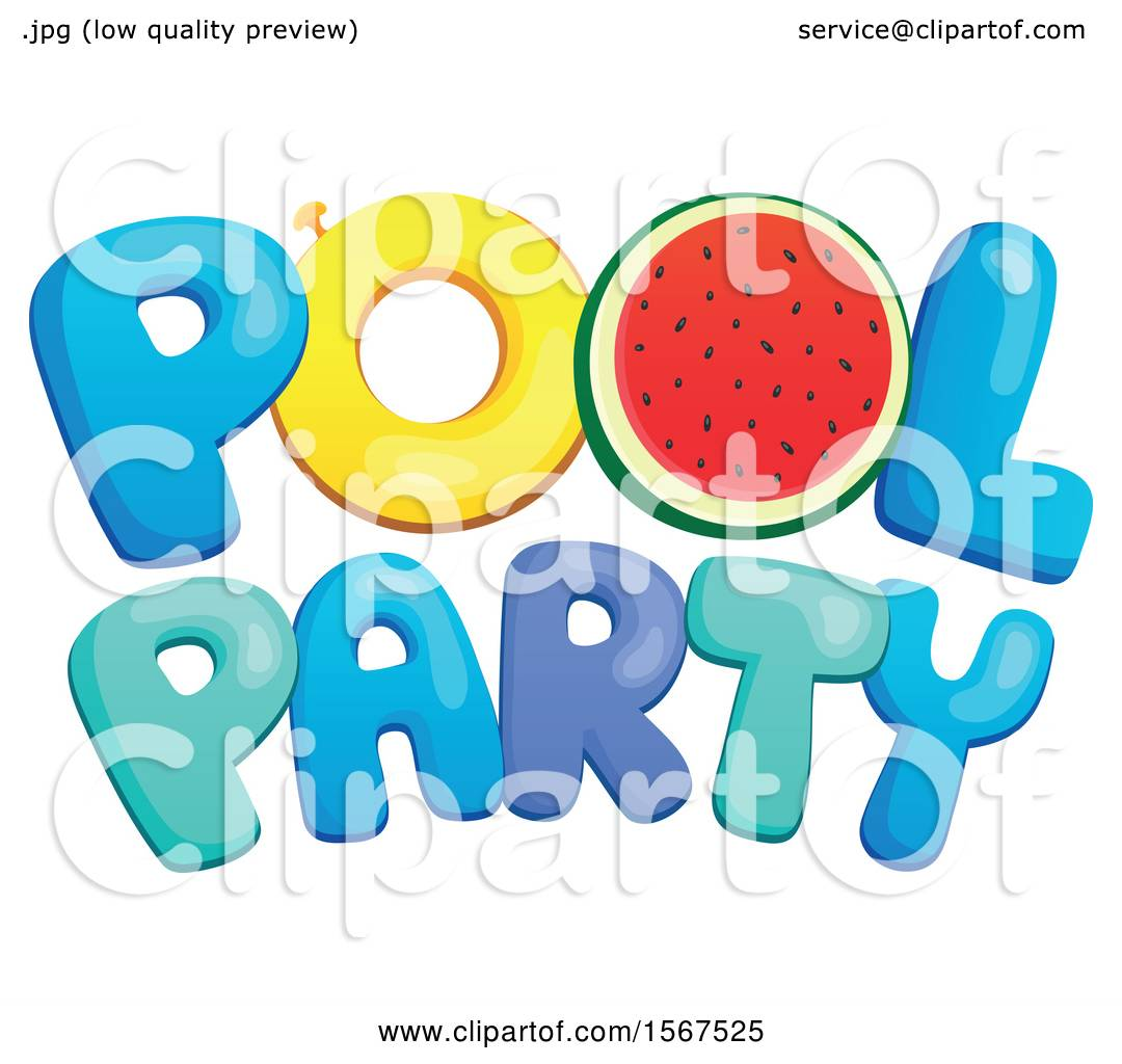 Clipart of a Summer Time Pool Party Design.