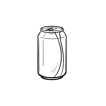 Soda Pop Can Hand Drawn Sketch Icon Stock Illustration.