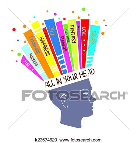 Psychology concept with optimistic feelings and positive thinking  illustration Clipart.