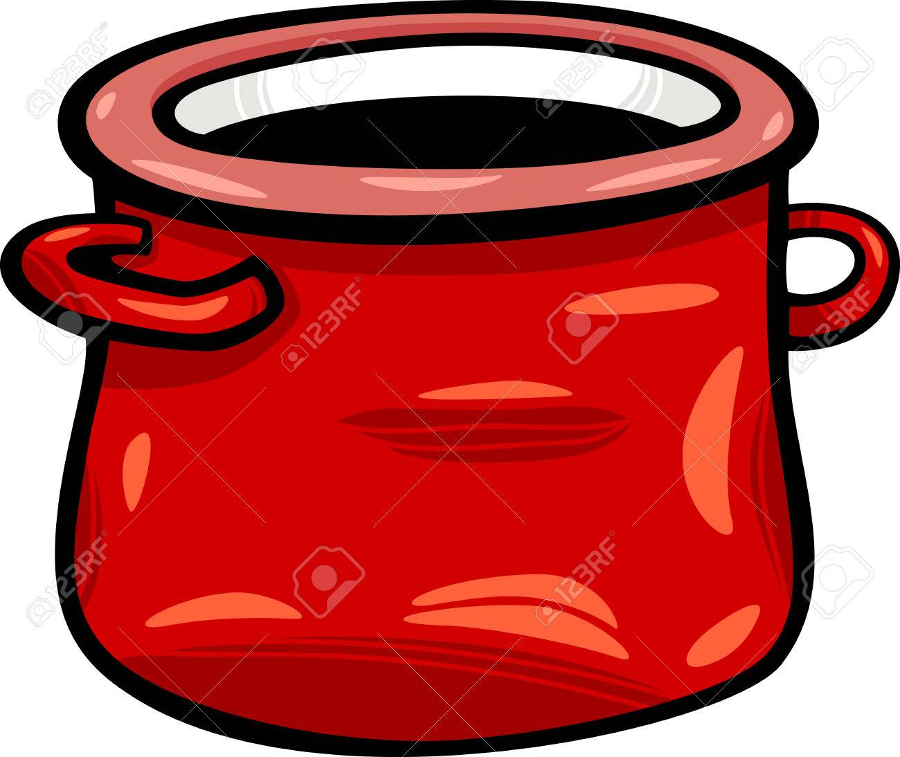 Cartoon Illustration of Red Jar or Pot Clip Art.