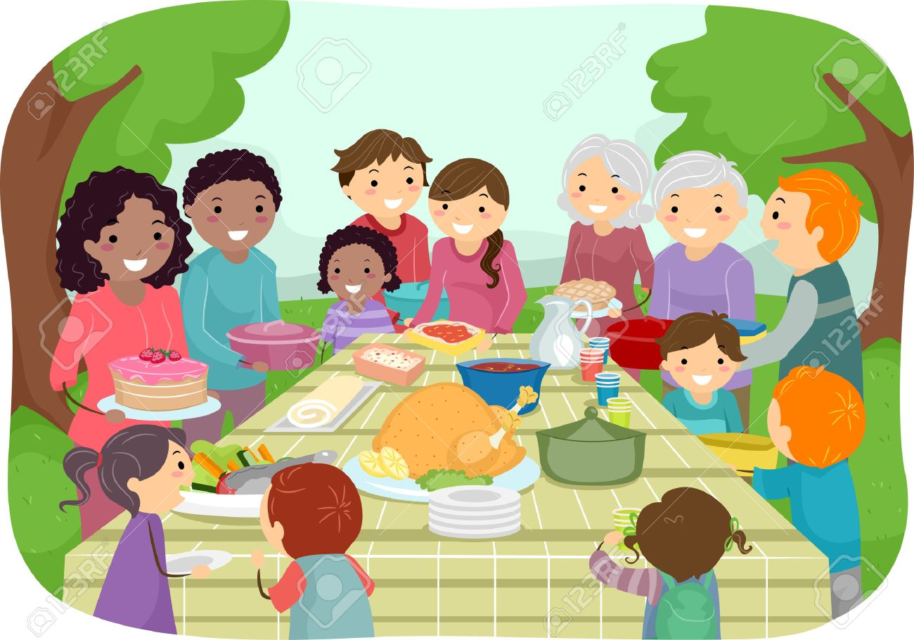 Illustration Featuring a Group of People Enjoying a Potluck Party...