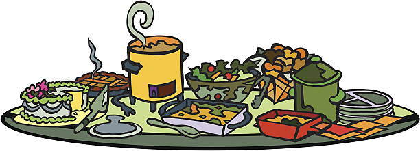 Best Potluck Party Illustrations, Royalty.