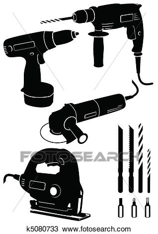 Set of 4 different power tools. Clipart.