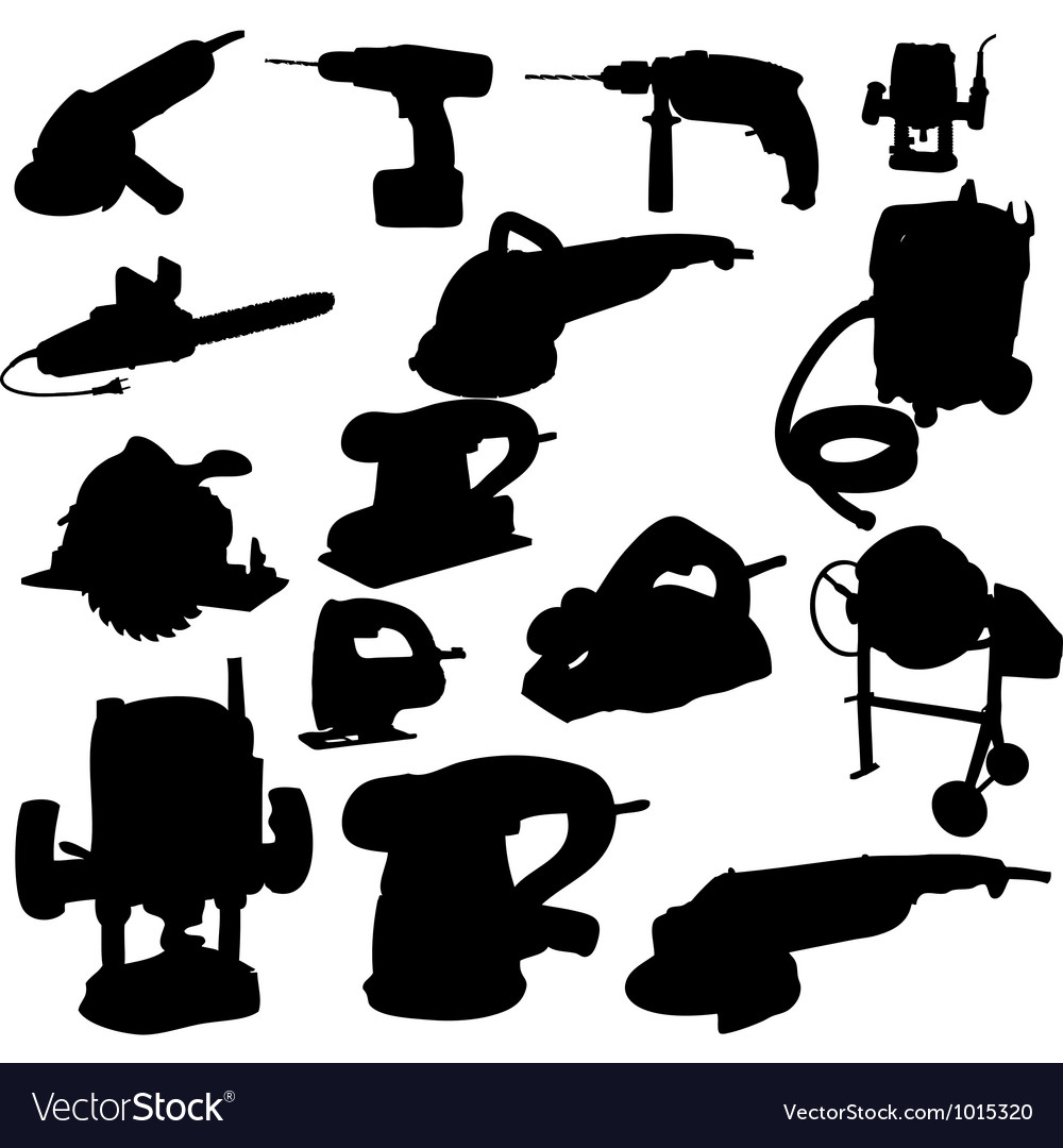 Collection of power tool silhouette.