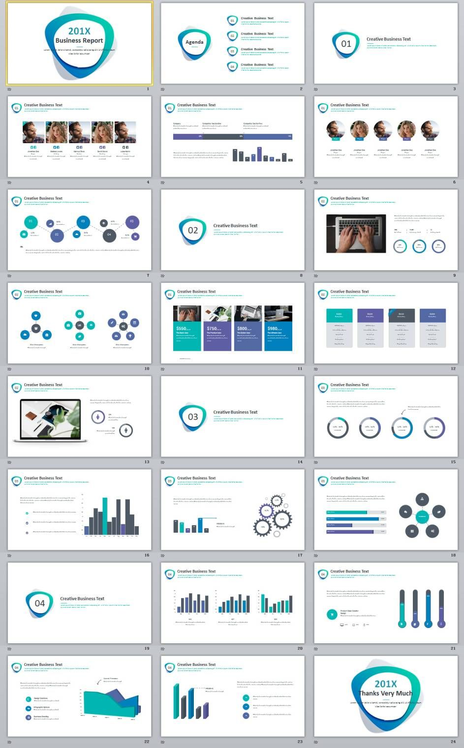 24+ Simple Blue Business report PowerPoint Template.