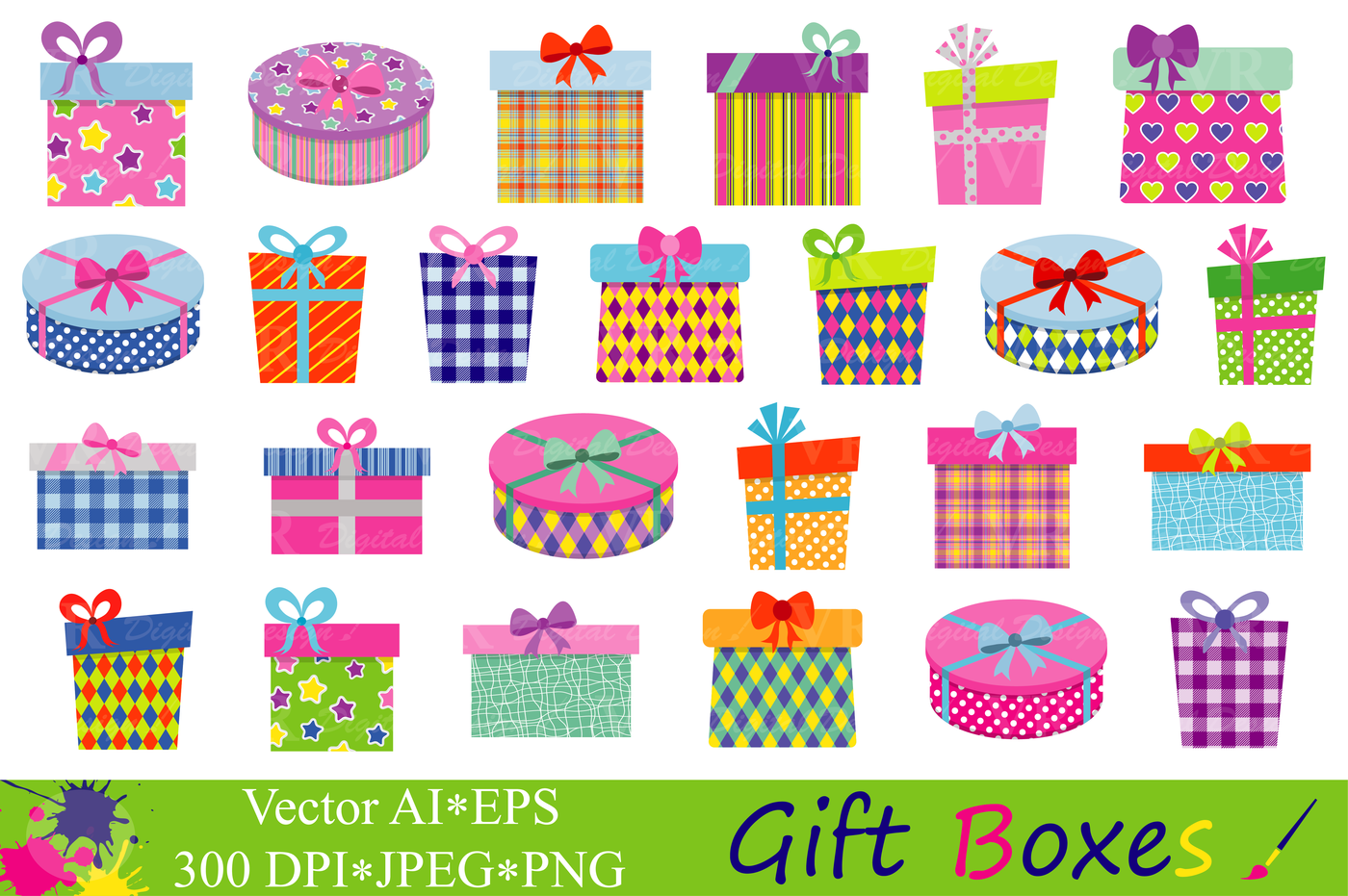Gift Boxes Clipart / Presents Clip art / Gifts vector By VR Digital.