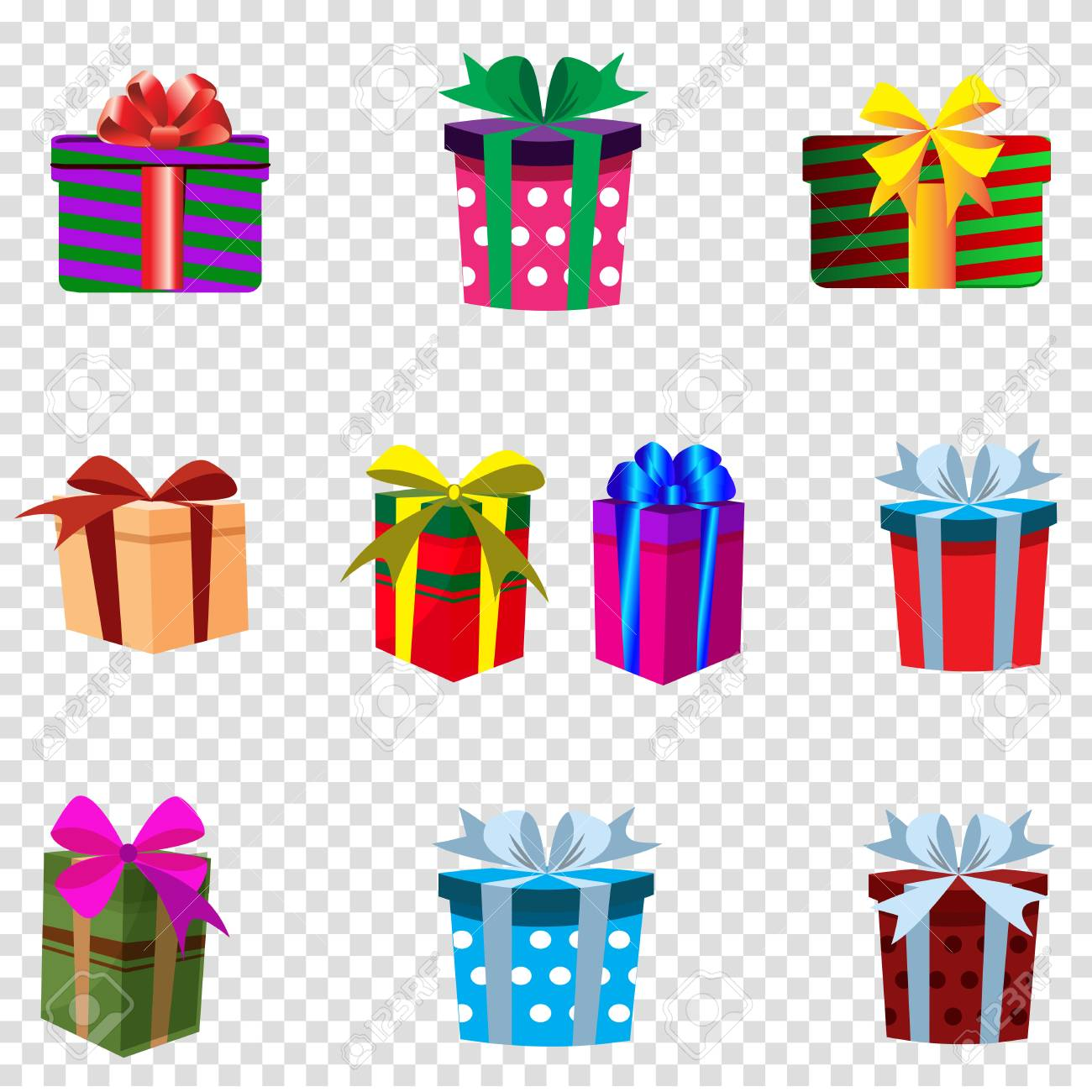 Vector set of colourful gift boxes isolated on transparent background.