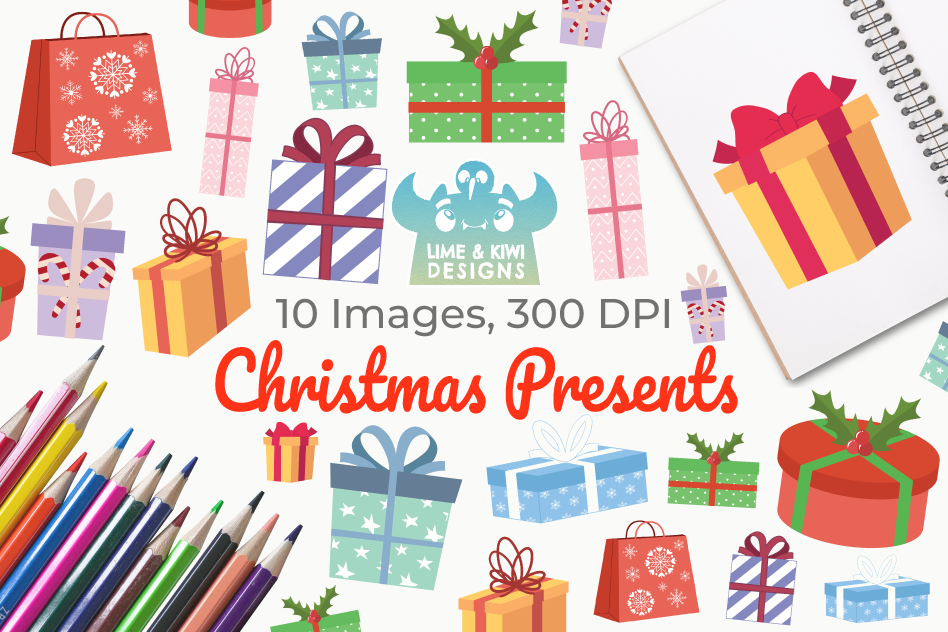 Christmas Presents Clipart, Instant Download Vector Art.