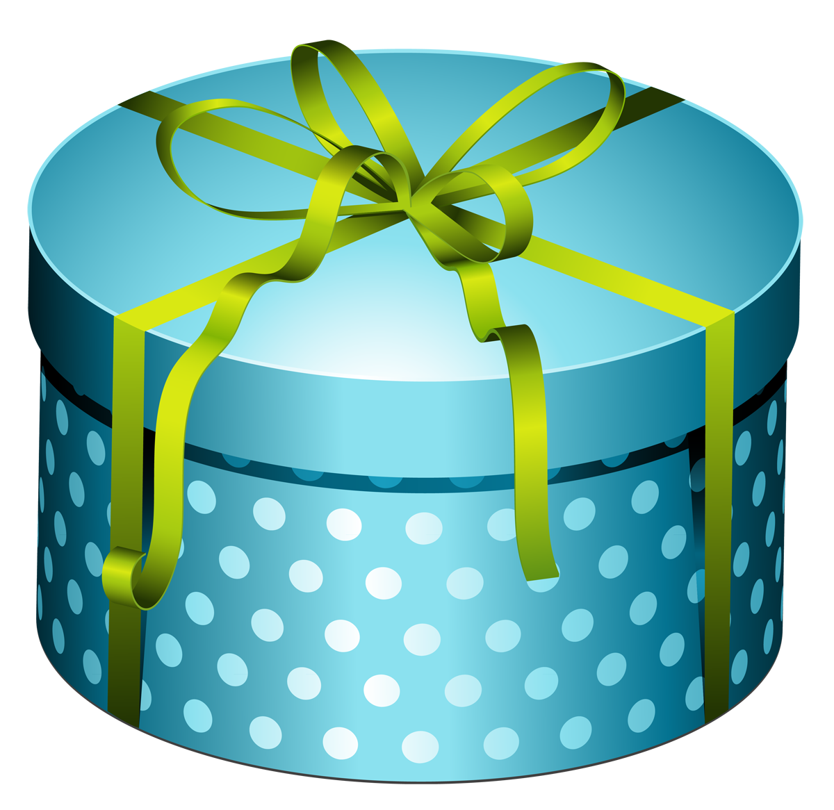 Blue Round Present Box with Bow PNG Clipart.