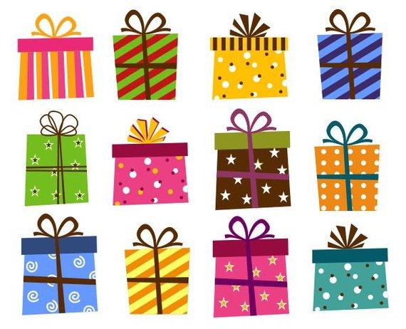 Giftbox Clip Art, Present Boxes Clip Art, Instant Download, Birthday.