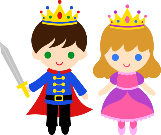 Free clip art of a cute little prince and princess.