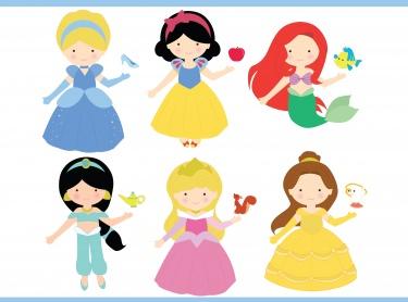 Disney Princesses Clip Art / Disney Princesses ClipArt / Princesses Clip  Art / Princesses ClipArt / Royal Clip Art.