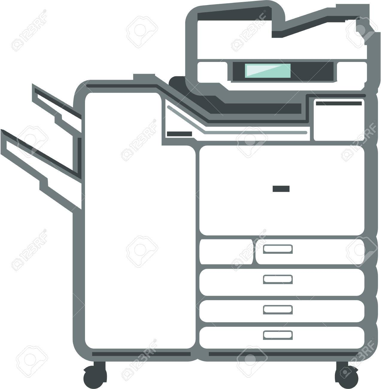 Large printer office equipment vector illustration clip.