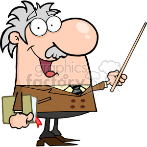 12829 RF Clipart Illustration Professor Holding A Pointer clipart.  Royalty.