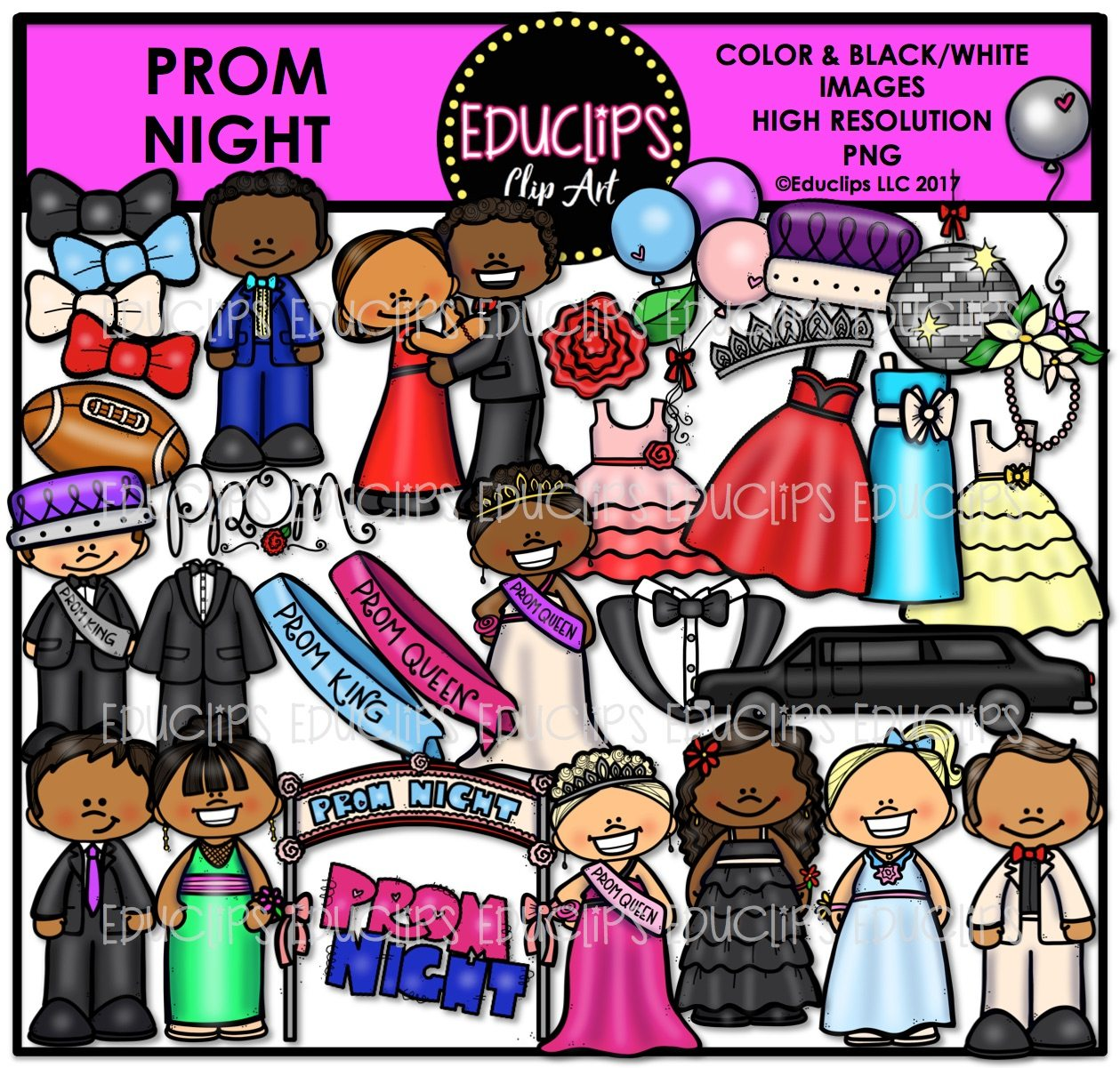 Prom Night Clip Art Bundle (Color and B&W).