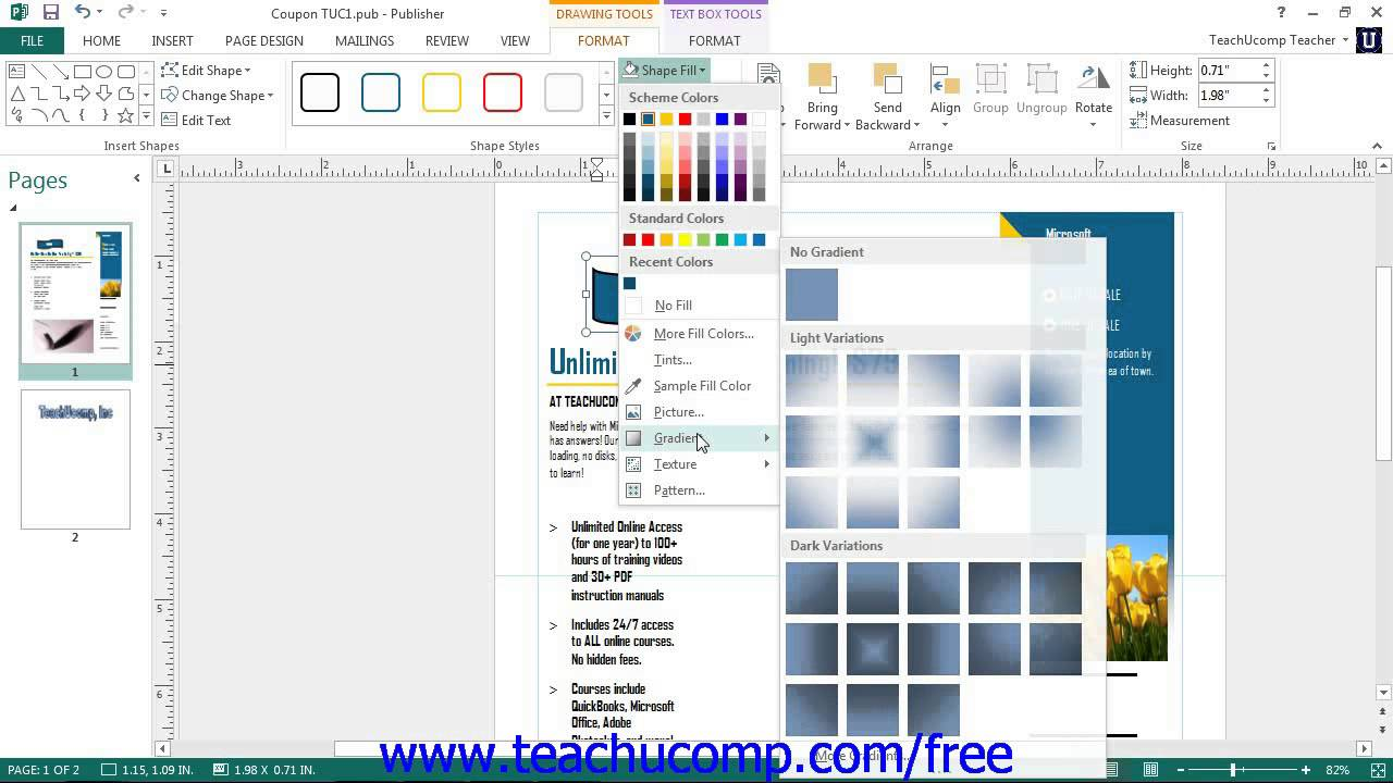 Publisher 2013 Tutorial Formatting Shapes Microsoft Training Lesson 4.2.