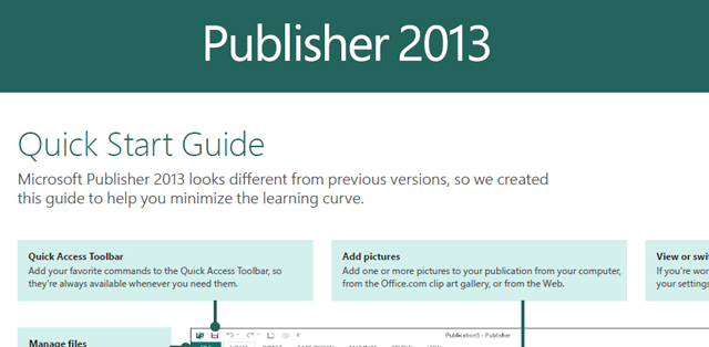 Microsoft Publisher 2013 User Guide.