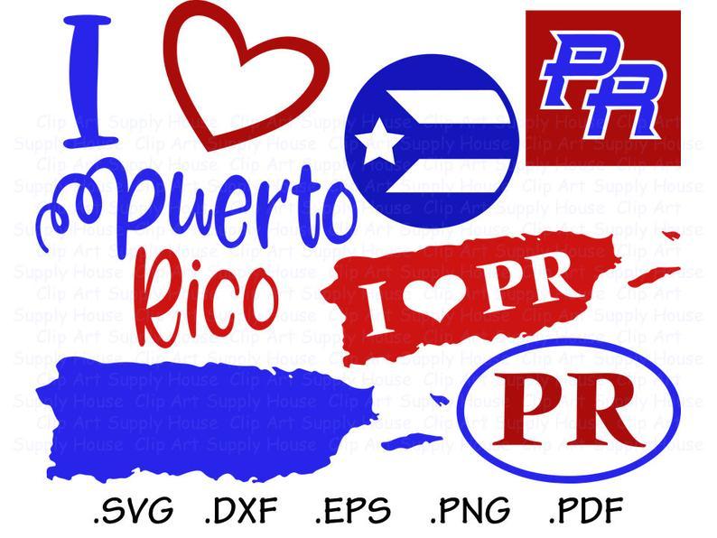 Puerto Rico SVG, Puerto Rico Clipart, Puerto Rico Silhouette and Cricut  Files, Puerto Rico svg bundle, Puerto Rico svg designs.