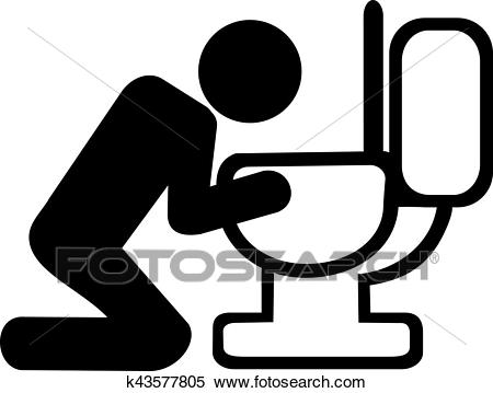 Puke in toilet after drinking Clipart.