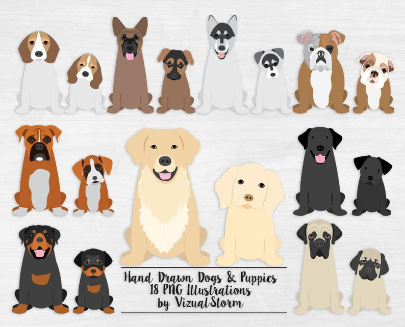 Puppy Dog Clipart Sitting Puppies and Dogs Digital Pet Scrapbooking  Graphics Labrador Husky Bulldog Shepherd Boxer Beagle Rottweiler Mastiff.