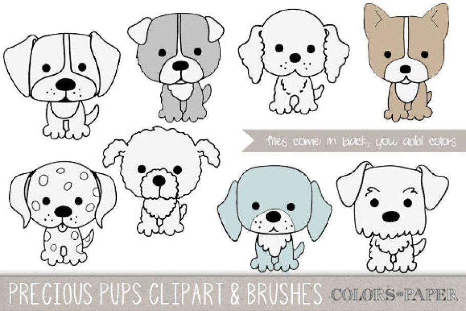 Precious Pups Clipart and Brushes.