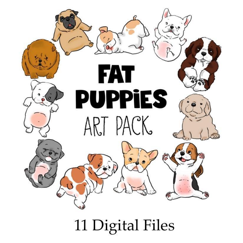 Fat Puppies Clip Art—11 Digital Files.