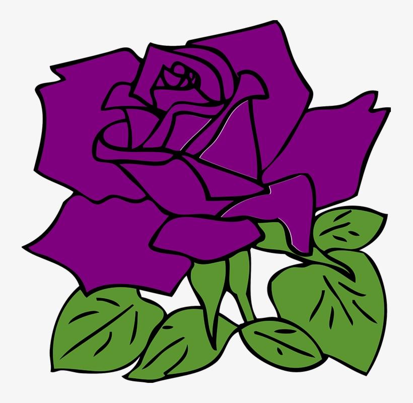 Purple Rose Clipart Simple Flower.
