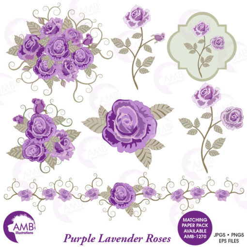 Floral clipart, Wedding clipart, shabby chic, Purple Roses clipart, Bridal  Shower, Flower Embellishments, AMB.