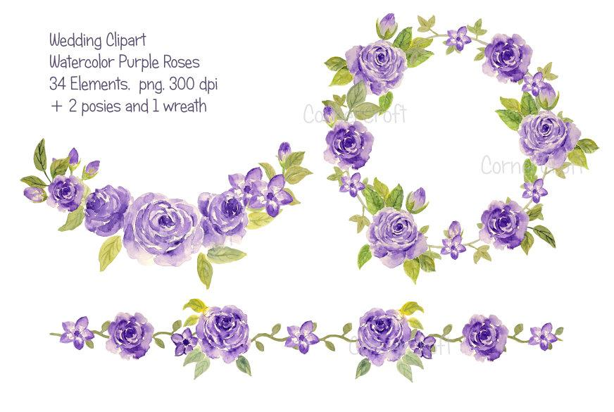 Watercolor Purple Roses collection printable instant download.
