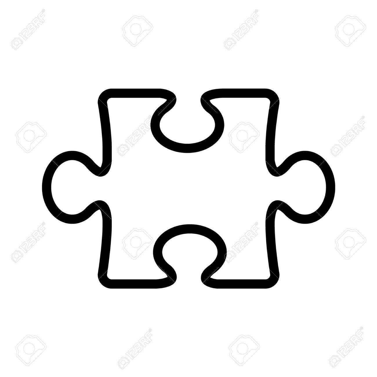 Puzzle piece line art icon for apps and websites.