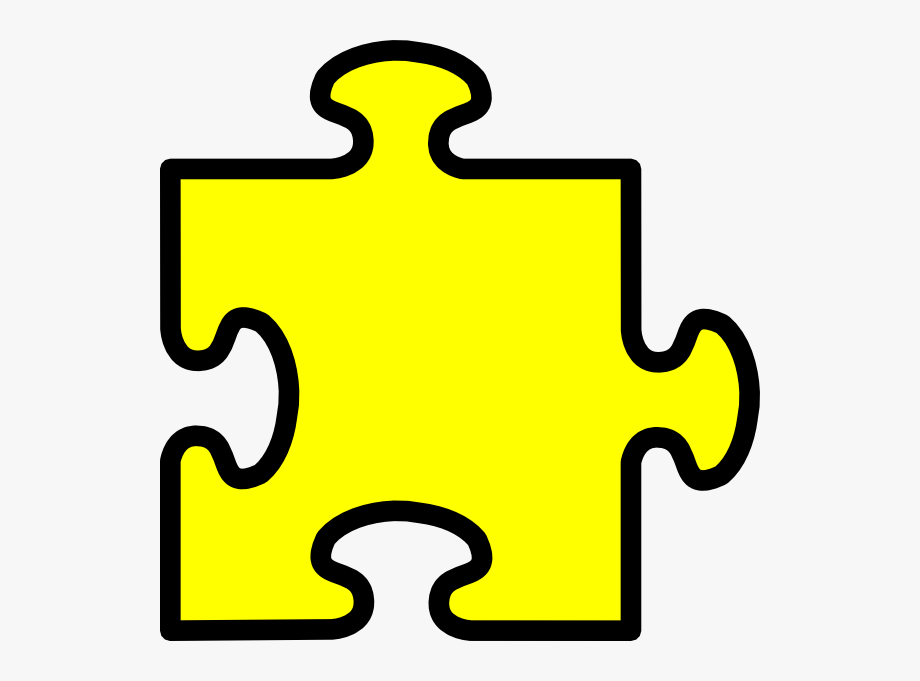 Yellow Puzzle Piece Clip Art.