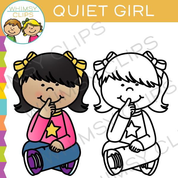 Quiet Girl Clip Art.