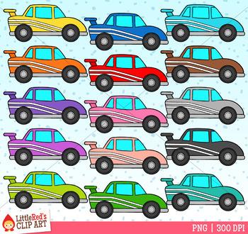 Rainbow Race Cars Clip Art.