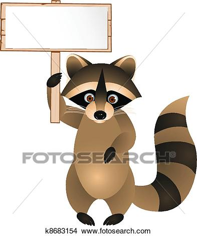 Racoon With Blank Sign Clipart.