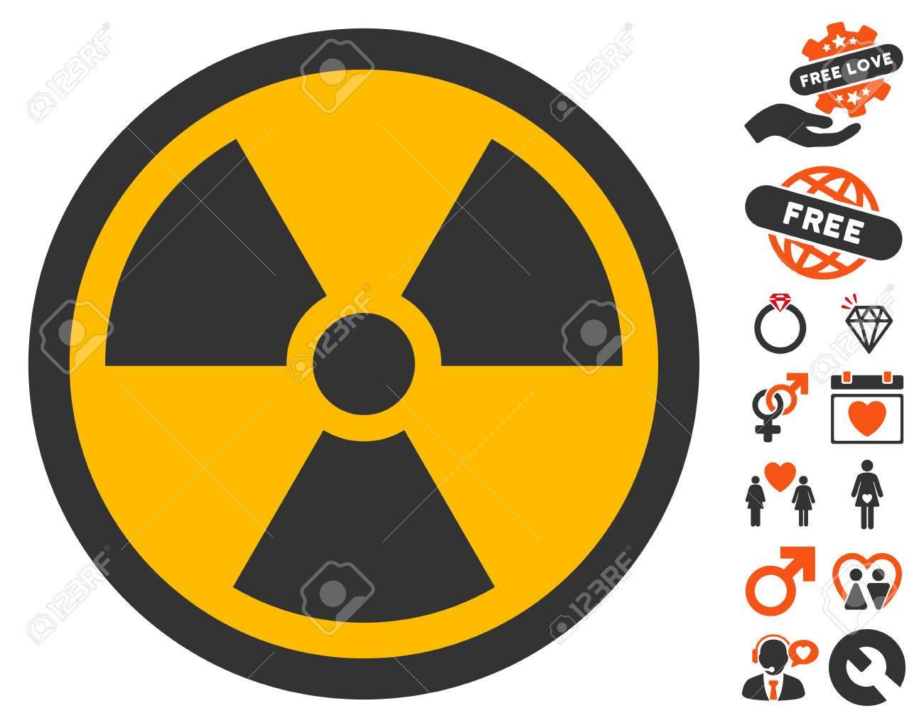 Radioactive pictograph with bonus marriage clip art. Vector illustration...