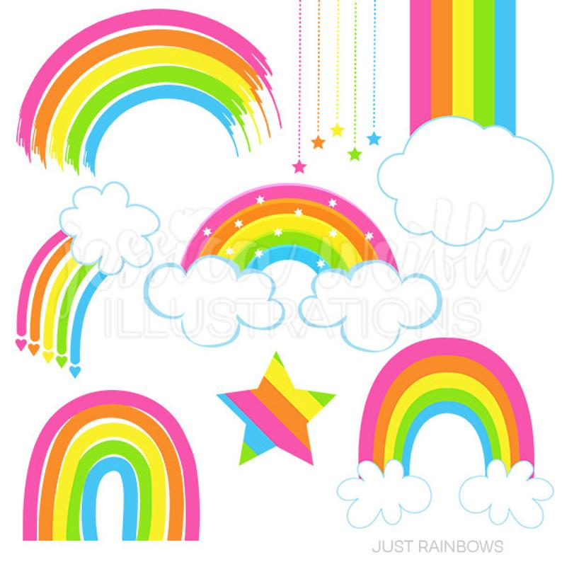 Just Rainbows Cute Digital Clipart, Rainbow Clip art, Rainbow Graphics,  cloud, pink rainbow clipart, rainbow and cloud, pink rainbows.