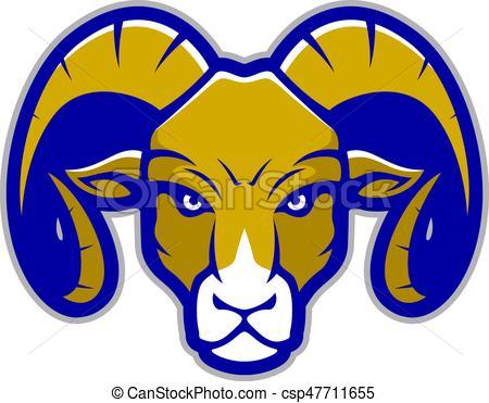 Ram head mascot.