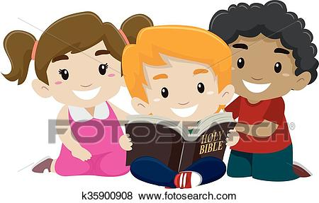 Children Reading Bible Clip Art.