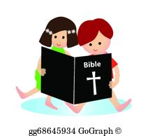 Reading Bible Clip Art.