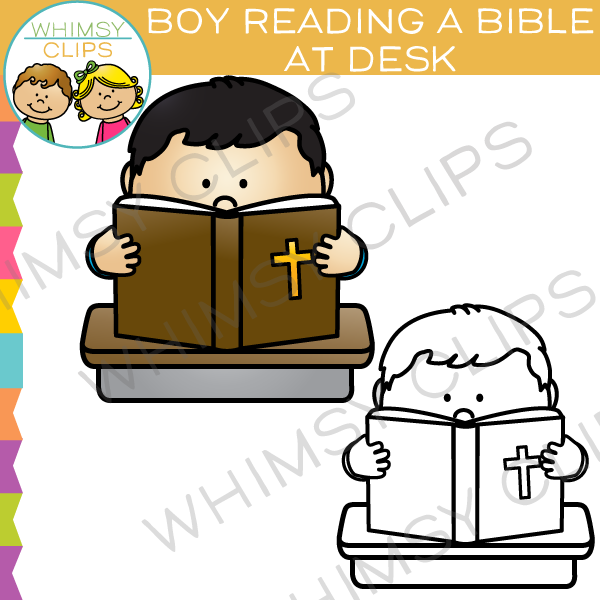 Boy Reading a Bible at a Desk Clip Art.
