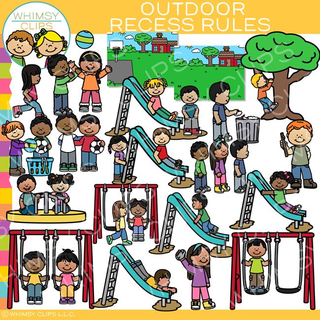 Outdoor Recess Rules Clip Art.