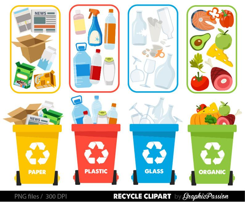 Recycle clipart Recycle graphics Recycle Bin Recycling guide How to recycle  clipart Earth Day Save the Earth Digital Clip Art Trash clipart.