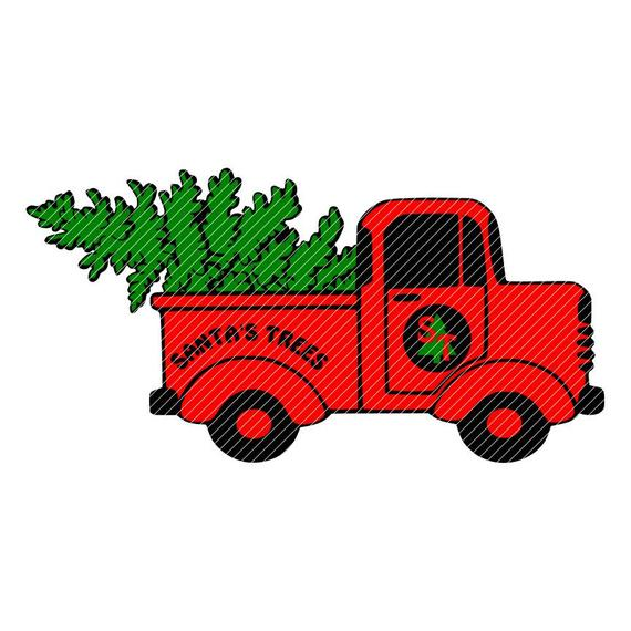 Little red truck, Santa's Christmas tree truck, clipart vector graphics cut  files jpg png cricut silhouette cameo.